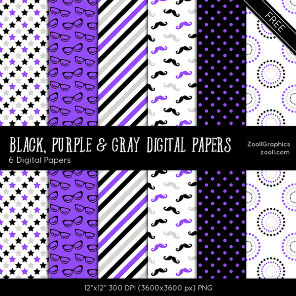 Black, Purple And Gray Digital Papers by MysticEmma
