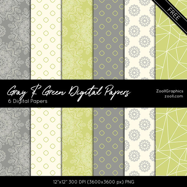 Gray And Green Digital Papers by MysticEmma