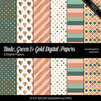 Nude, Green And Gold Digital Papers by MysticEmma
