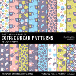 Coffee Break Soft Spring Digital Papers by MysticEmma