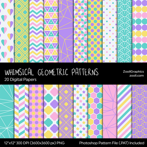 Whimsical Geometric Digital Papers by MysticEmma