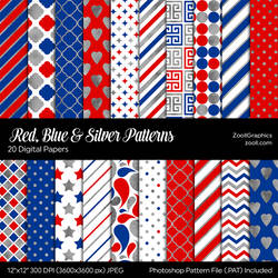 Red, Blue And Silver Digital Papers