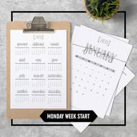 Calendar 2019 A4 Printable Monday Week Start
