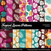 Tropical Leaves Boho Colors Digital Papers