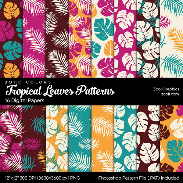 Tropical Leaves Boho Colors Digital Papers by MysticEmma
