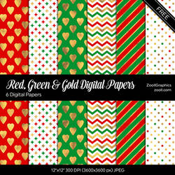 Red, Green And Gold Digital Papers by MysticEmma