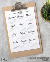 Calendar 2019 A4 Printable