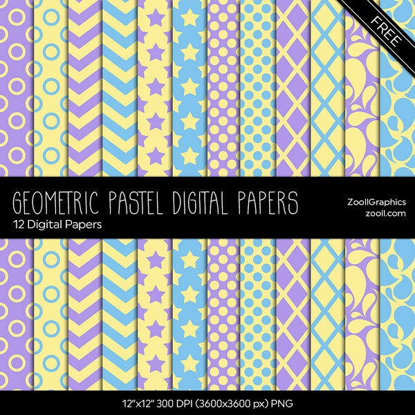 Geometric Pastel Digital Papers by MysticEmma
