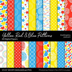 Yellow, Red And Blue Digital Papers by MysticEmma