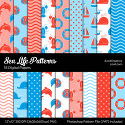 Sea Life Digital Papers
