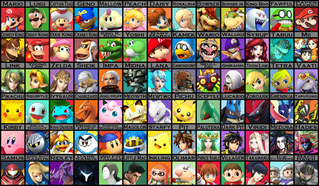The Ultimate Super Smash Bros Roster 2 0 W I P By Yu Gi