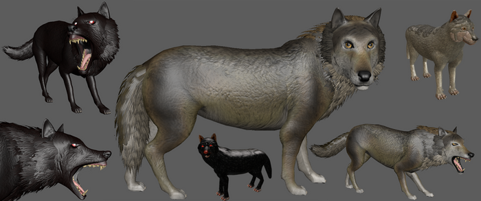 spore Gray Wolf + Hell Hound by Evilution90