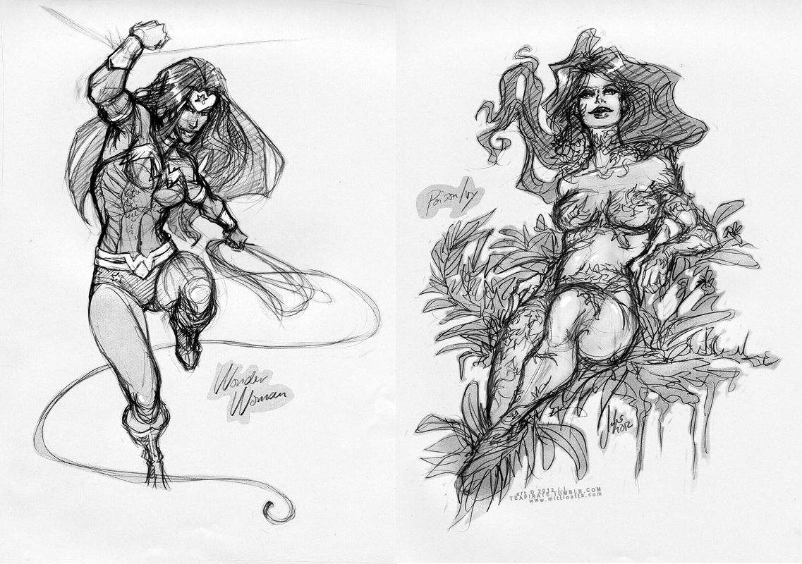 Pencil sketches: Wonder Woman and Poison Ivy by croaky