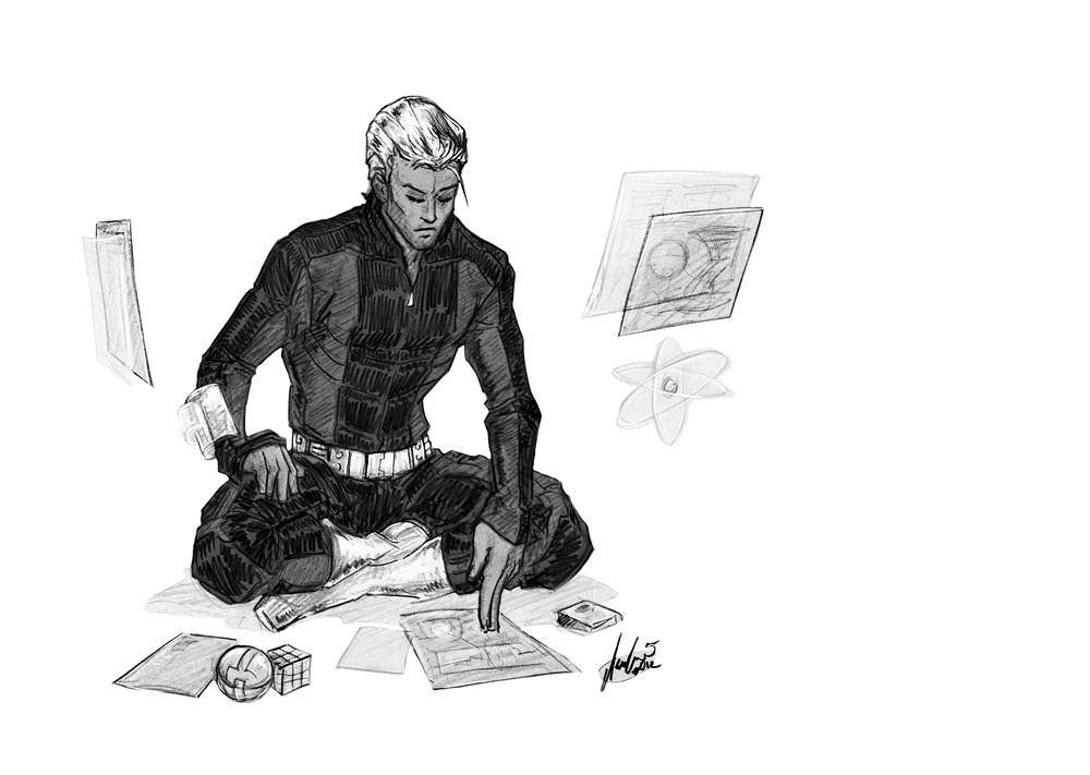 Sketchavember 2012 #02: Querl Dox aka Brainiac 5 by croaky