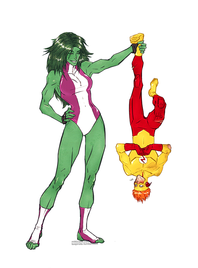 Kid Flash VS. She-Hulk by croaky on DeviantArt