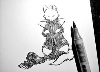 #Sketchvember Knitting Kitty