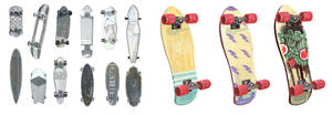 skateboard thumbnails and painting by Chiara-Maria