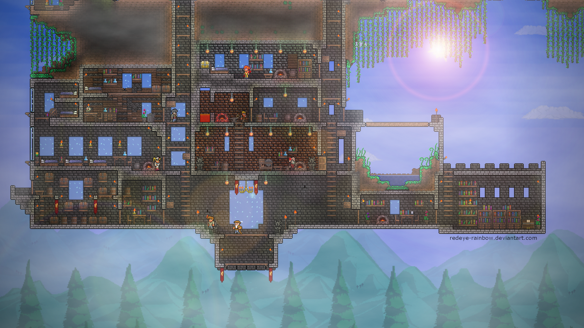 terraria how to build a castle