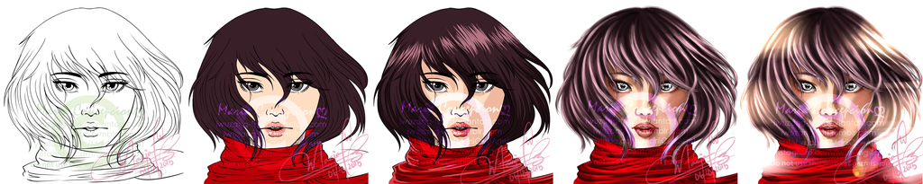 Mikasa Ackerman - Done in different styles... by iWuzang-Fan