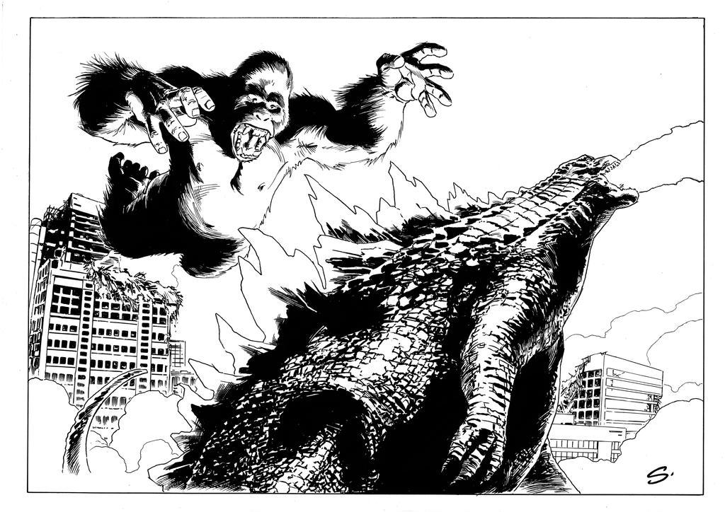 Kong Godzilla by stevescott