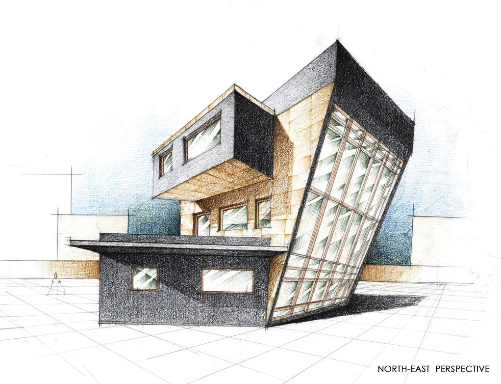 House exterior perspective by radu26 on deviantart Drawing modern houses