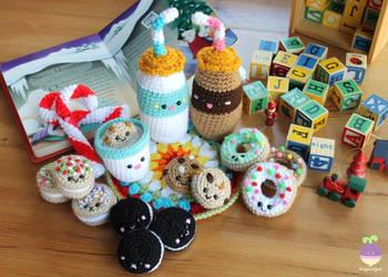 Milk and Cookies for Santa Amigurumi Food Crochet