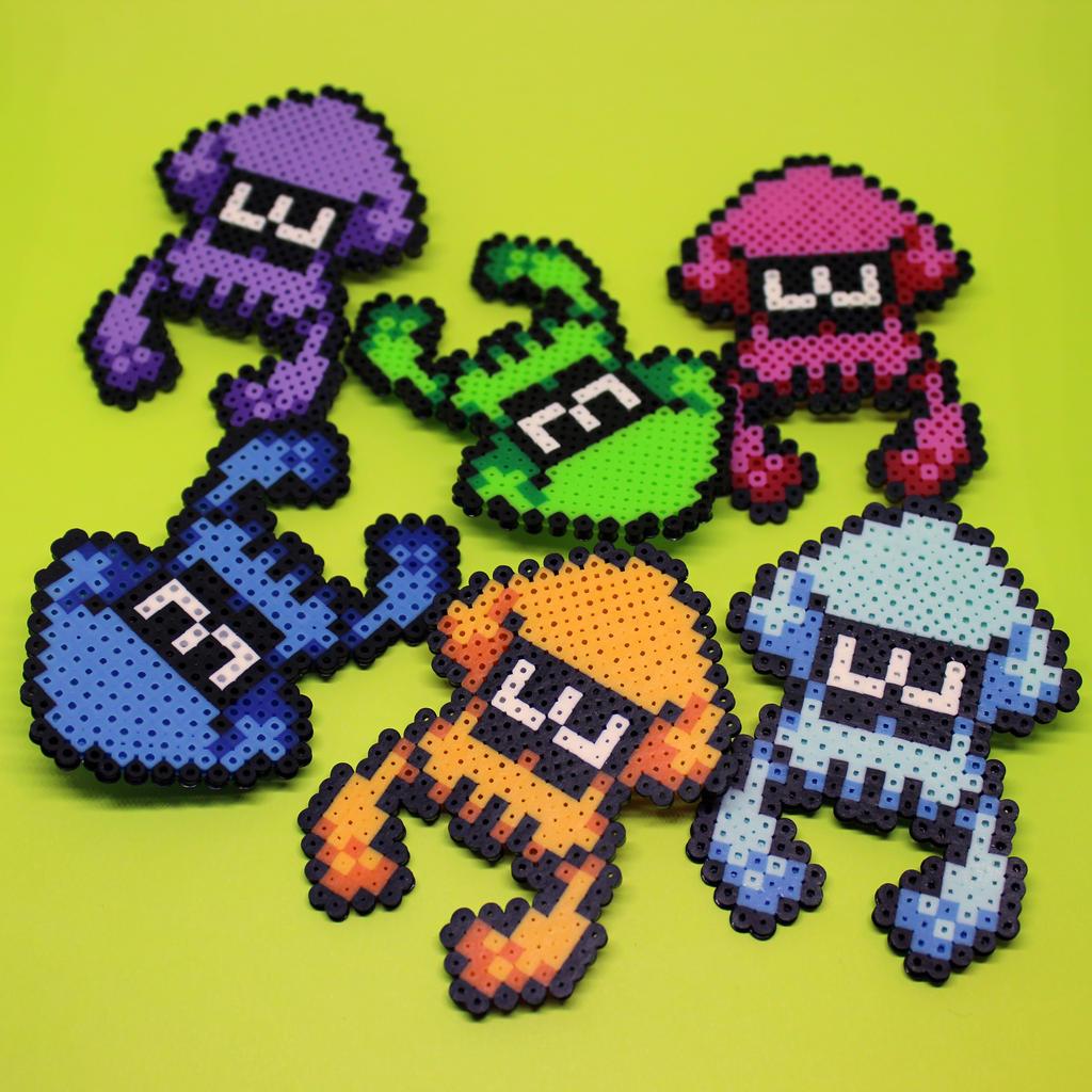Splatoon Squid - Mini Perler Beads by HalfEmptyETank on