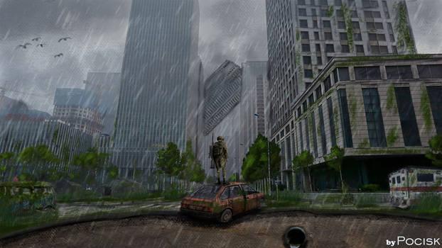 Post apocalyptic city concept art