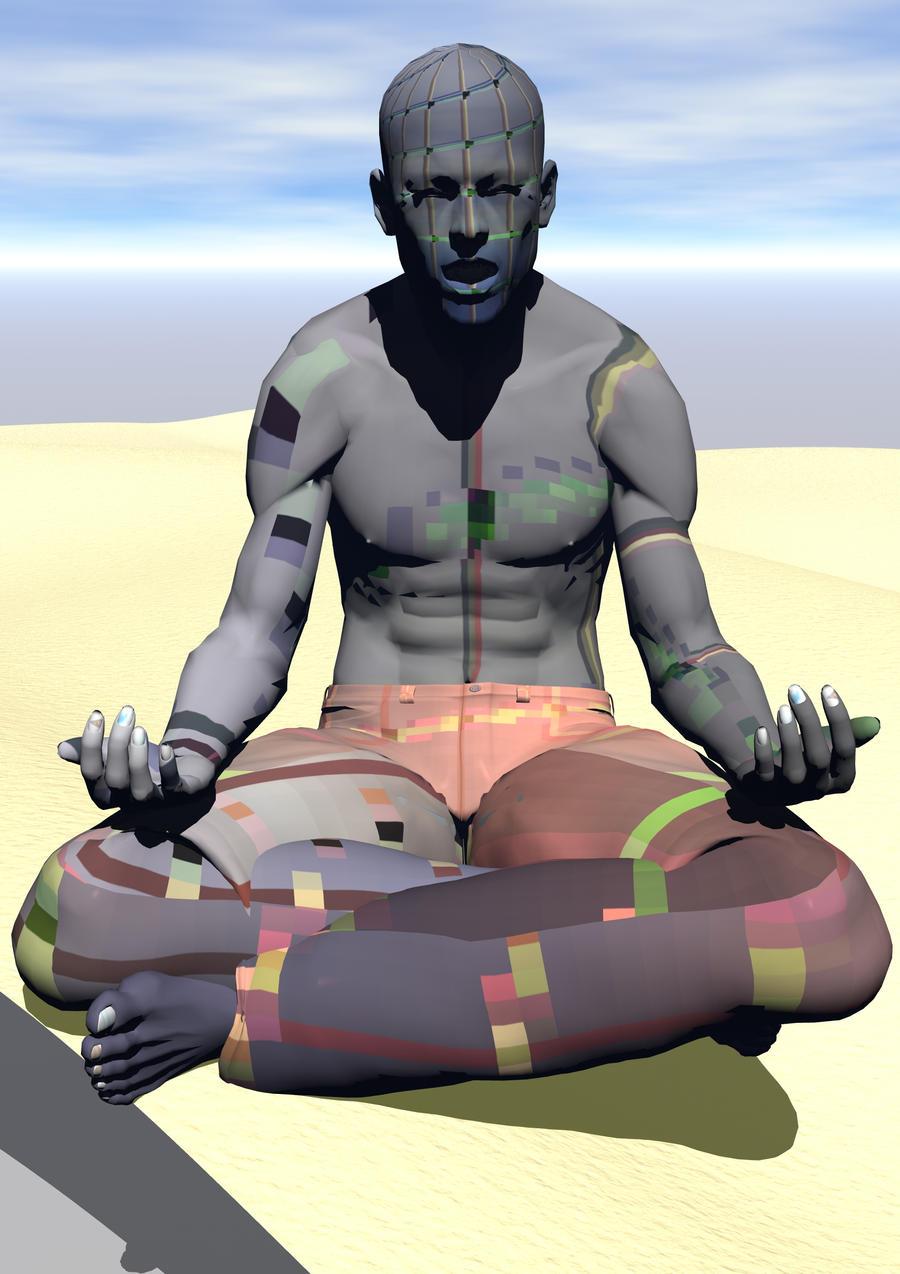 Yoga Man In Desert by Skrabalo
