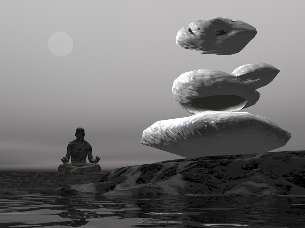 Yoga Man Levitating Rock by Skrabalo