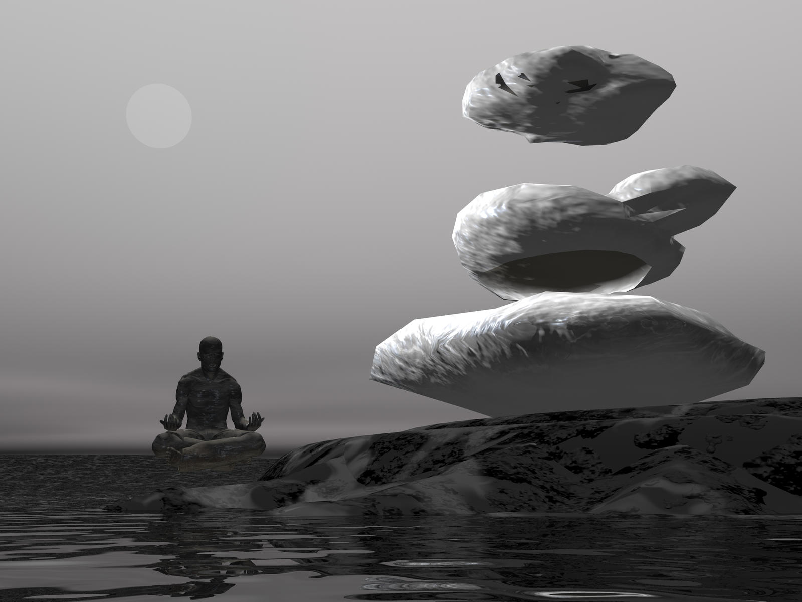 Yoga Man Levitating Rock by Skrabalo on DeviantArt  Yoga Man Levita...