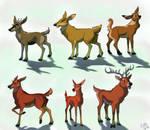 Deer OC colored doodles by Nothofagus-obliqua