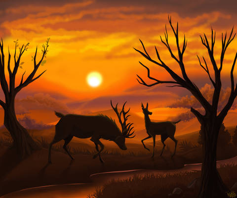 Two herd Guardians, at sunrise