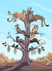 Predators, Not In Scale, On A Tree