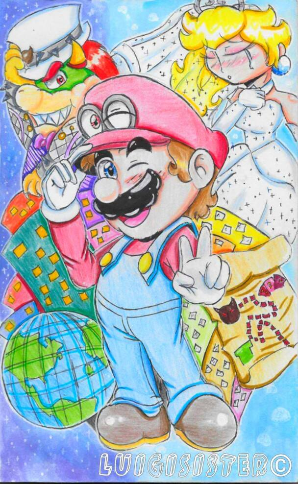 how to draw mario odyssey
