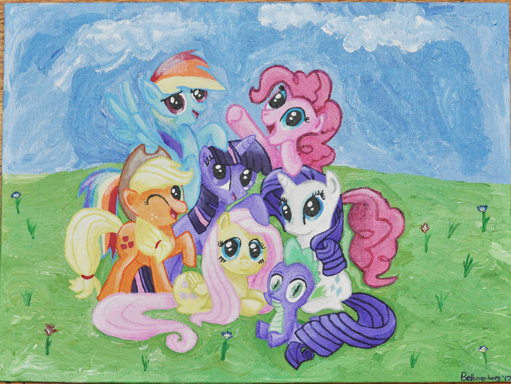 Acrylic Painting: MLP Group Portrait by Belluxenberg on