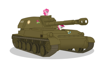 Pinkie and Rose driving 2S3 ''Akatsiya'' by DolphinFox