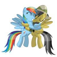 RainbowDash hugs DaringDo