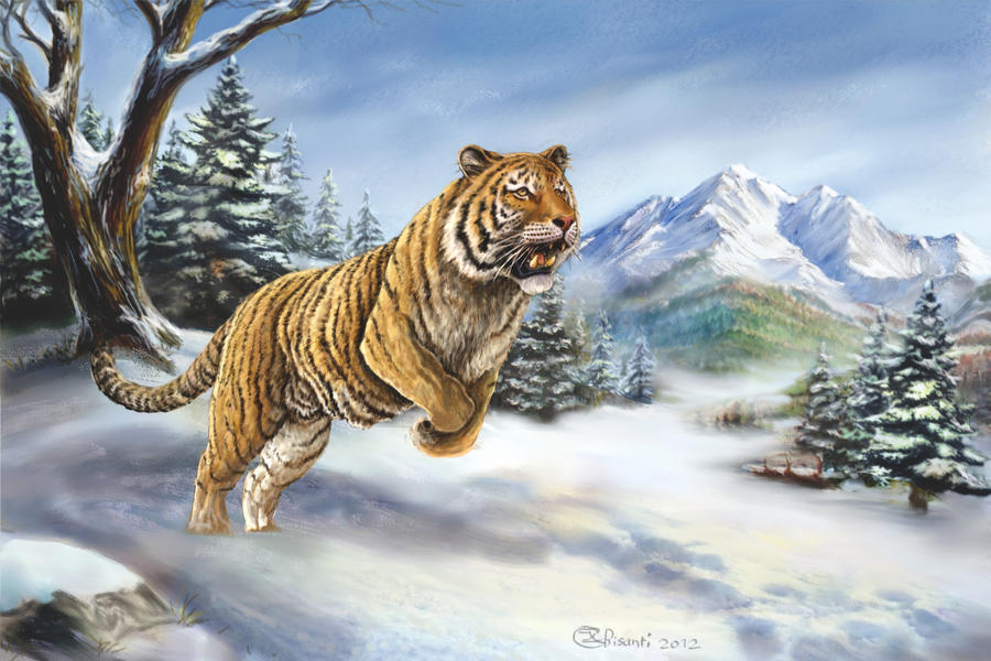 Siberian Tiger hunting by Bisanti on DeviantArt