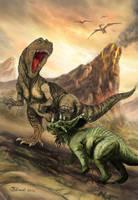 Clash of the Dinos - Megalosaurus vs Chasmosaurus by Bisanti