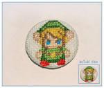 Link cross stitch badge
