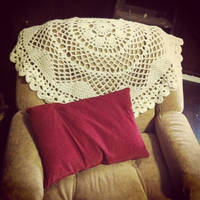 Doily blanket on the chair