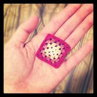 Tiny itty bitty mini granny square brooch