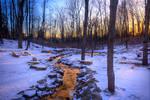 Golden Stream in Winter stock background