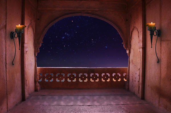 Arabian nights balcony premade background by little spacey for Balcony wallpaper