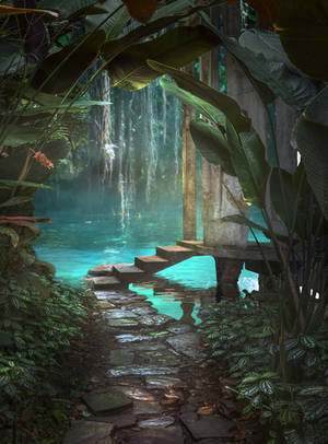Fantasy Jungle Premade Background by little-spacey