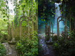 Jungle Archway Background - Before and After