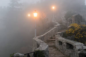 Foggy Castle Steps Stock