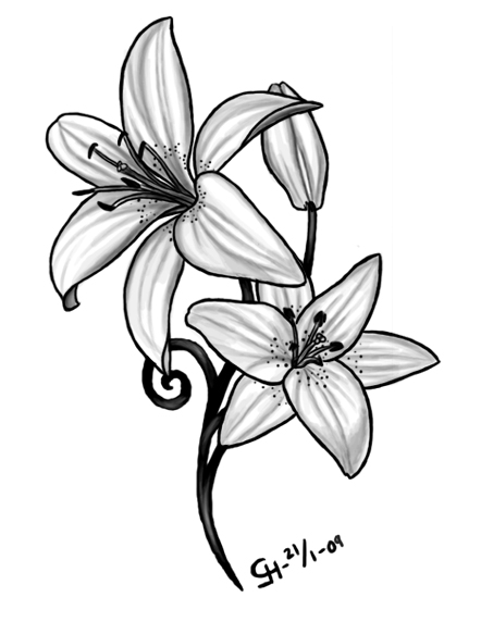 Lily Tattoo Black And White