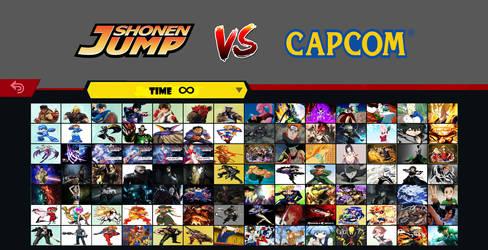 Capcom vs Shonen Jump character select screen